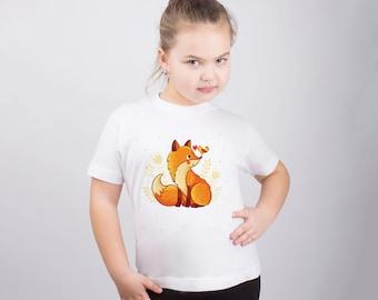 Cute Fox Kids Shirt Girls Shirt for Kids Animal Print Shirt Fox Print Graphic Tee Boy Tee Kids Shirt Girls Clothing Tshirt for Girl PA1243