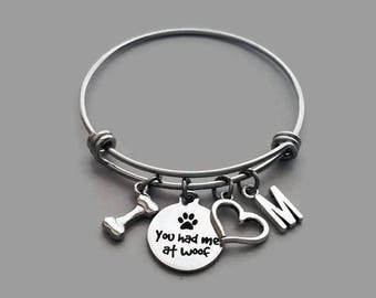 Dog Charm Bracelet, Dog Lover Bracelet, You Had Me At Woof, Personalized Bracelet, Animal Lover, Animal Adoption, Stainless Steel Bangle