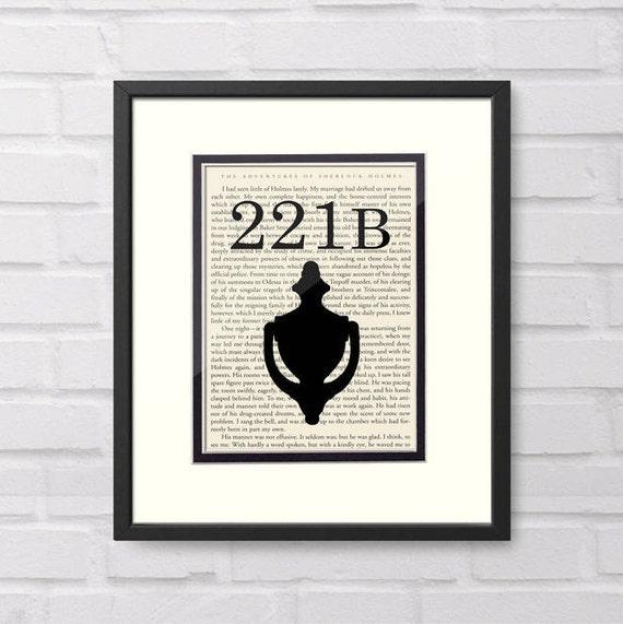 Sherlock Holmes, 221B Baker Street over Vintage Sherlock Holmes Book Page - Sherlock Holmes Gift Graduation Gift