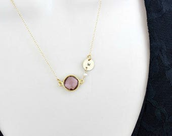 Pink Amethyst Necklace, Birthstone Necklace, Gold Initial Necklace, Personalized Necklace, Minimal Necklace, Initial jewelry, Disc necklace