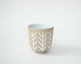 """hand-carved ceramic cup / tumbler / mug / raw clay with bright white glaze / plant pattern // """"GROOVE"""""""