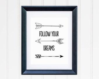 Follow Your Dreams Printable Nursery Quote Print Tribal Arrows Tribal Nursery Decor Native Nursery Wall Art Boy Nursery Art Southwest Decor