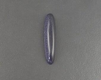 Blue Goldstone Cabochon, 43x10mm, oval shaped, long thin cab, large cabochon, blue cab, sparkle, long oval cab, goldstone, cabochon, blue