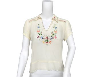 1940s Embroidered Peasant Blouse