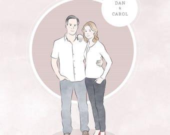 Couple Portrait, Custom Illustration, Couple Drawing, Personalised, Custom Art, Anniversary Print, Custom Hand Drawn Portrait, Keepsake