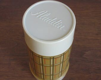"""Vintage Aladdin Plaid Thermos; Tan, Brown and Red, 7-1/2"""",Retro Camping,Picnic,Lunchbox,Insulated,Travel Cup,Nostalgic Thermos,1970's Kitsch"""