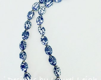 Chunky Chinoiserie Beaded Statement Necklace | large beads, long, blue and white, navy, gold, Designs by Laurel Leigh