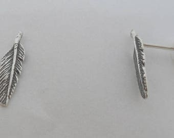 925 Sterling Silver Small Feather Stud Earrings