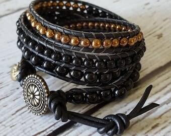 Obsidian, Onyx & Gold Hematite Wrap Bracelet, Wrap Bracelet Beaded, Black Boho Wrap Bracelet, Yoga Wrap Bracelet, x4 Wrap Bracelet Beaded