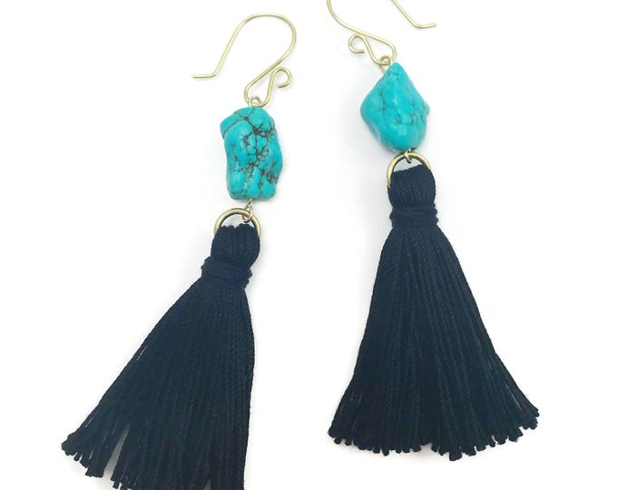 Featured listing image: Turquoise Nugget Tassel Earrings