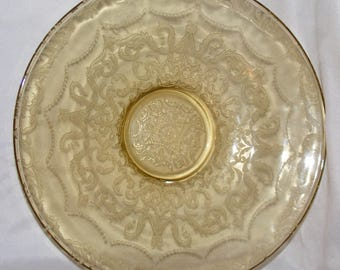 Federal Glass Amber Console or Fruit Bowl  Madrid Pattern