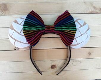 White Concha Ears with Sarape Bow, White Concha Ears, Concha Ears, Pan Dulce Minnie Ears