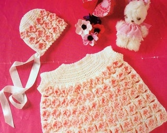 """Vintage crochet pattern 1970's Patons 2188 Baby dress and bonnet 18"""" chest 3 ply"""