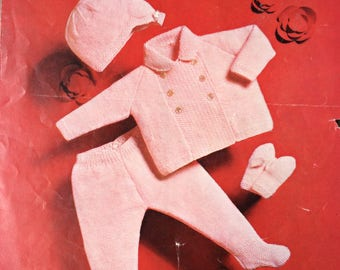 "Vintage knitting pattern 1960's Robin 1790 Baby coat/hat/mittens/trousers/leggings  18"" 20"" 22"" chest"