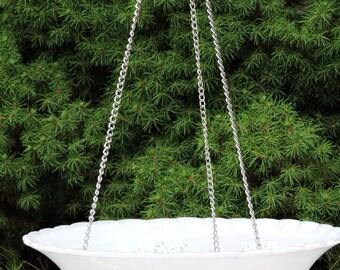 WHITE Hanging Glass Bird Feeder Bird Bath Vintage Floral Light Shade Glass Recycled