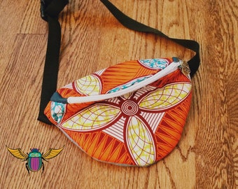 Orange African Print Fanny Pack with Adjustable Strap (Ready to Ship)