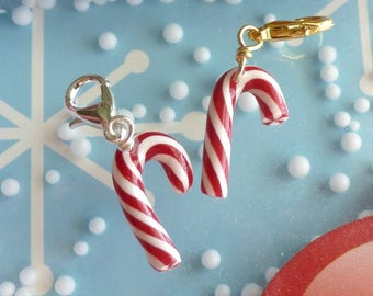 Polymer Clay Candy Cane Charm Miniature Food Jewelry Polymer Clay Jewelry Peppermint Charms Christmas Jewelry