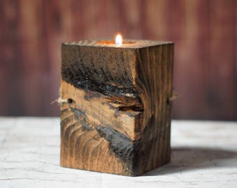 Reclaimed Wood Candle Holder, Rustic Home Decor Rustic Tealight Holder, Primitive Decor, Rustic Decor,Wooden Tealight Holder,5th ANNIVERSARY