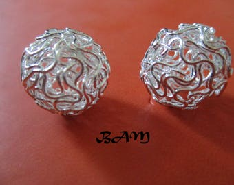 set of 2 large silver balls