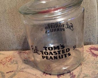 Antique, vintage, Tom's peanuts, clear large glass, jar, black and red advertising snack