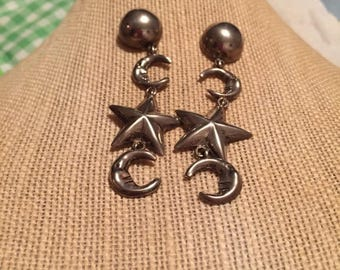 "Vtg, moon and stars, sterling silver, Tz12, bohemian style, long dangling, hippie, 4"" drop, pierced earrings, fine jewelry"