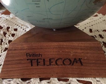 British telecom, world globe, scan globe a/s, Denmark, med size, collectible, vintage 1972