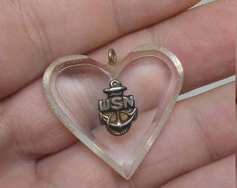Easter Sale Vintage WW2 US Navy Bakelite Heart Pendant