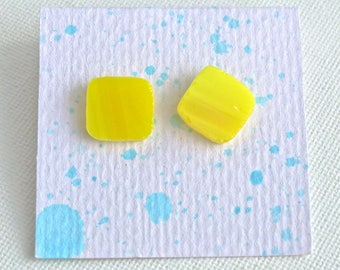 Yellow Stained Glass Stud Earrings