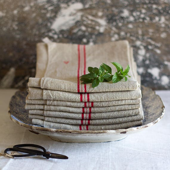 Classic French Linen Red Stripe Kitchen Towel