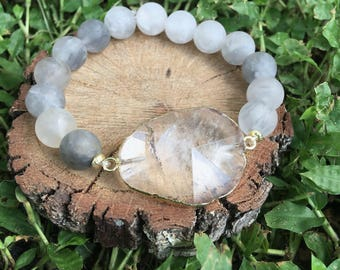 Cloudy Quartz(10mm)  Bracelet - Crystal Quartz Bracelet - Grey and Gold Jewelry - Oliver Grey Jewelry - Gemstone Jewelry - Calming Bracelet