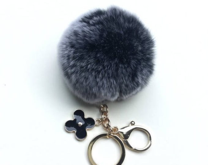 New! Summer Collection Black Frost fur pom pom keychain bag charm flower clover keyring