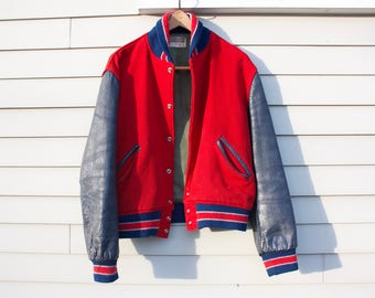 Medium 38 | Classic Red Felt, Navy Leather Sleeve Letterman Style Varsity Jacket. Made in USA.