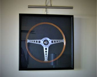 1960's MG Auto Steering Wheel.  Very Rare. Framed Under Glass.