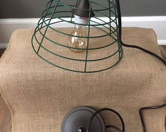 Green industrial cage pendant light,fixture