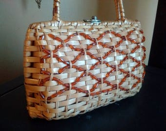 Vintage Rattan or Wicker Hardside Beaded Purse, Handbag