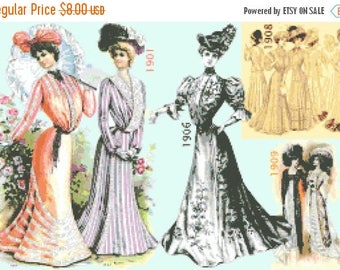 "dresses of belle epoque - counted Cross Stitch Pattern chart pdf format  modern cross stitch- 19.71"" x 13.36""  - L1313"