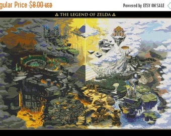 "legend of zelda map Counted Cross Stitch Pattern PDF embroidery needlepoint instant download - 31.50"" x 21.00"" - L1125"