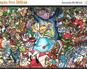 "alice in wonderland Counted Cross Stitch  stained glass Pattern  modern cross stitch, needlepoint - 23.64"" x 16.43"" - L1352"