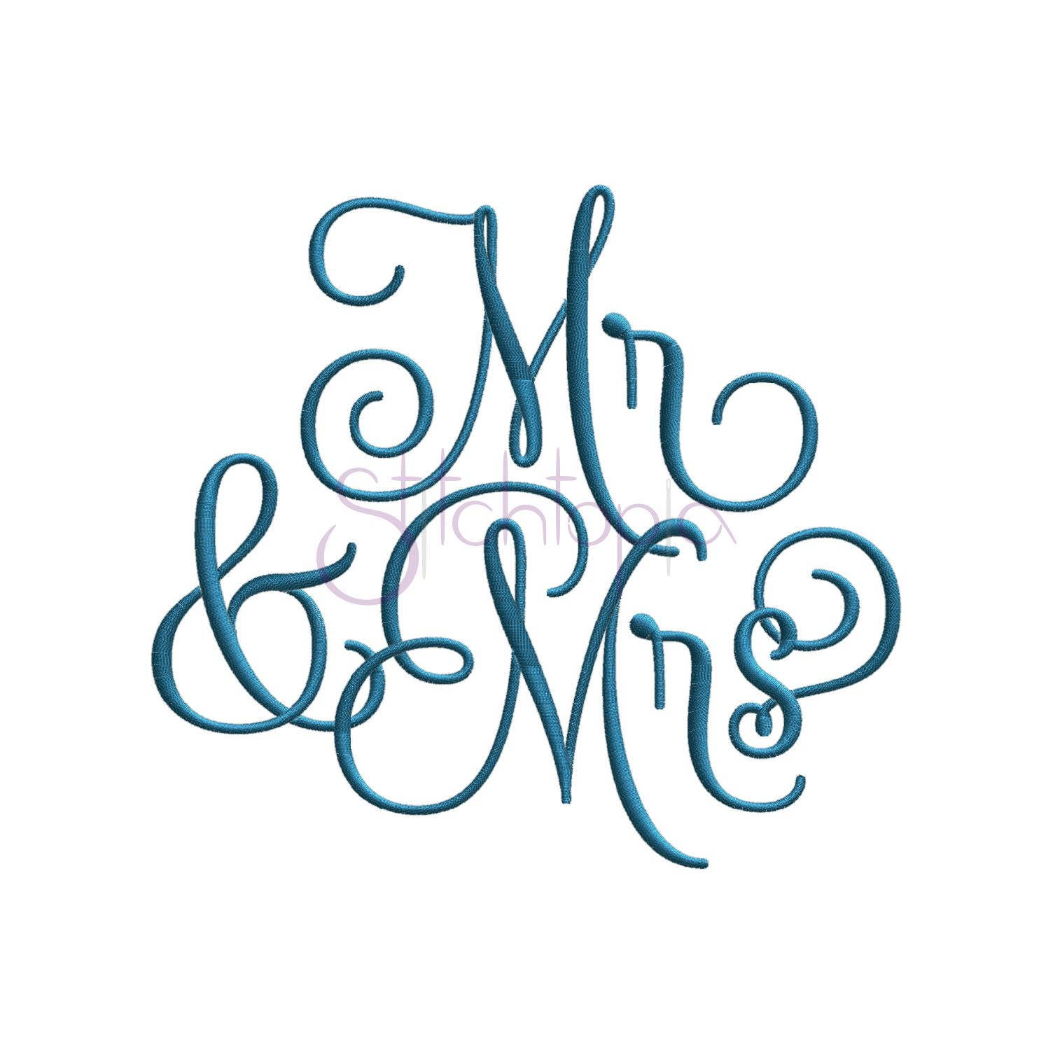 Mr mrs embroidery design sizes formats wedding