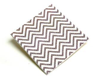 Square geometric brooch Chevrons on organic coated canvas