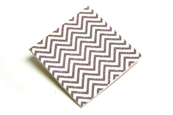 Square geometric brooch Chevrons on organic coated canvas