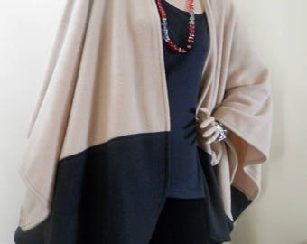 Beige and Black Two Tone Ruana Wrap/Oversize Poncho/Shawl/Women Cape/Lightweight Jacket/Stole/Gift for Her/Plus Size/Boho/Kimono/Cardigan