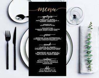 Wedding Menu, Black and Gold Menu, Gold Menu, Wedding Menu, Printable Menu Template, Black Wedding Menu, Custom Wedding Menu, Printable Menu