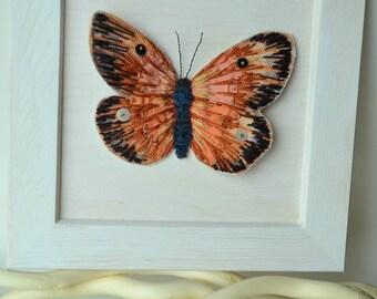 Tableau papillon brodé - tableau en relief - cadre mural motif papillon 2