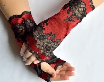 Handmade lacy arm warmers