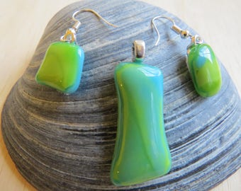 Green and Blue Fused Glass Pendant and Earring Set
