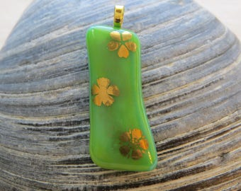 22k Gold Flowers on Green Fused Glass Pendant