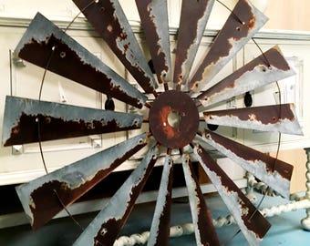Farmhouse Windmill Wall Decor - Metal Decor - Windmill - 47 Inch Windmill - Rustic Wall Art - Farmhouse Wall Decor - Windmill Fan - Rustic