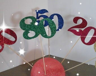 20th, 30th, 40th, 50th, 60th, 70th, 80th, 90th, 21st, Birthday, Anniversary, cupcake toppers-- --Number  in Glitter-choose your Color