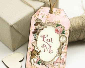 8 Alice in Wonderland Eat Me  Floral Gift Tags Toppers,Favors,Wedding.Tea Parties,Baby Shower,Bridal Shower,Birthday,Gifts